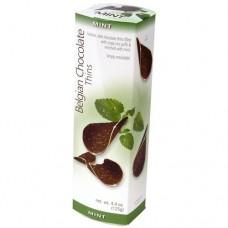Шоколадные чипсы Belgian Chocolate Thins Mint 80гр (с мятой)